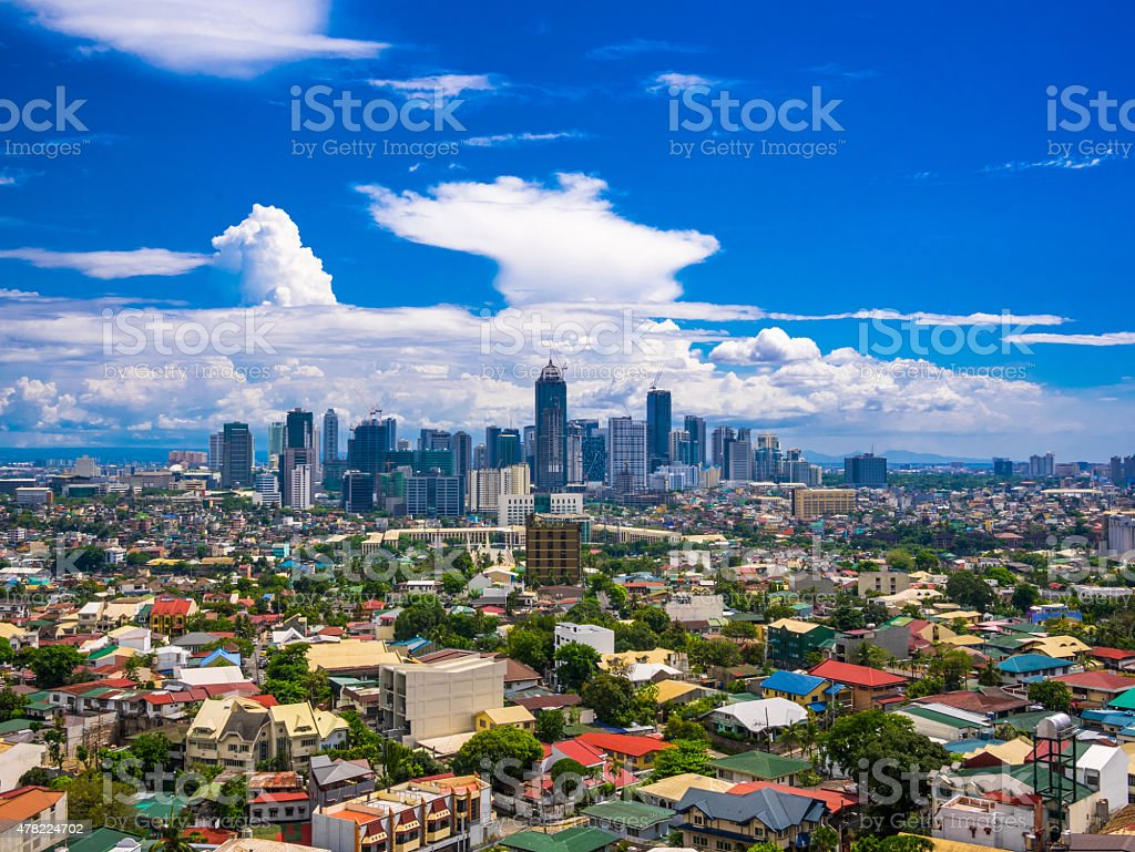 Manila city showing Makati City, Ortigas stock photo