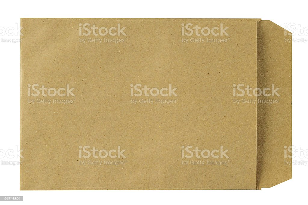 Manila envelope with clipping path on white background stock photo