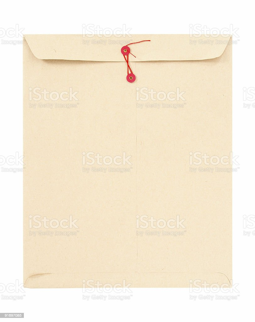 Manila envelope with red string stock photo