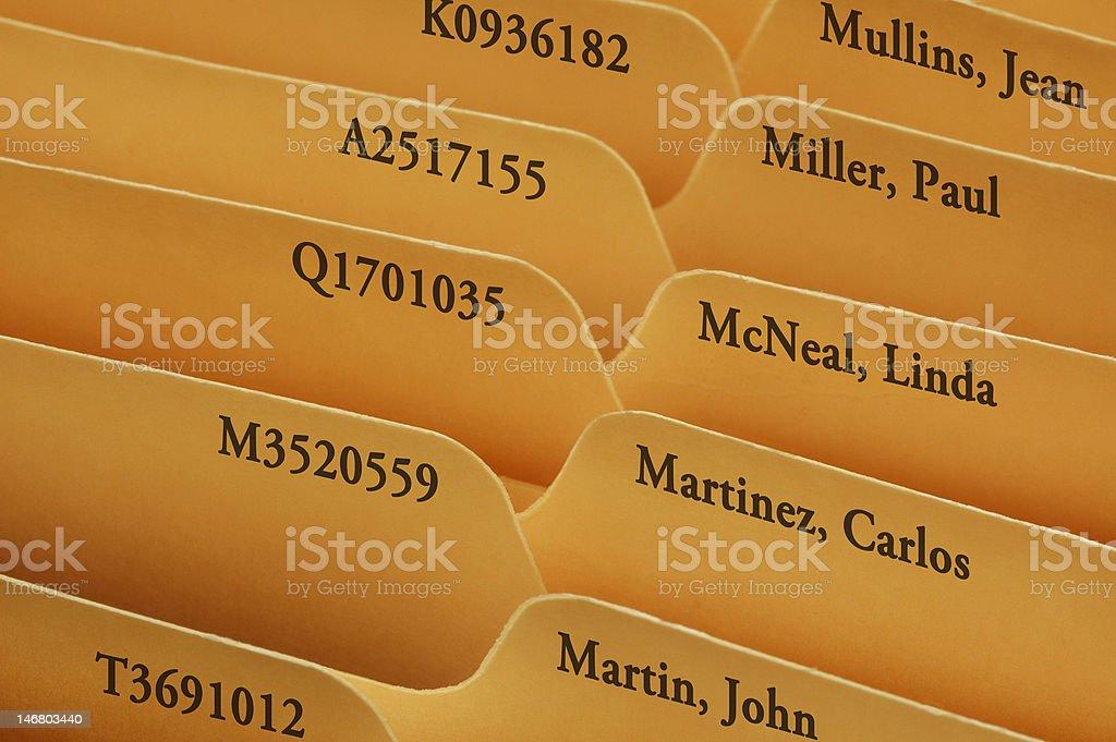 Manila file folder tabs royalty-free stock photo