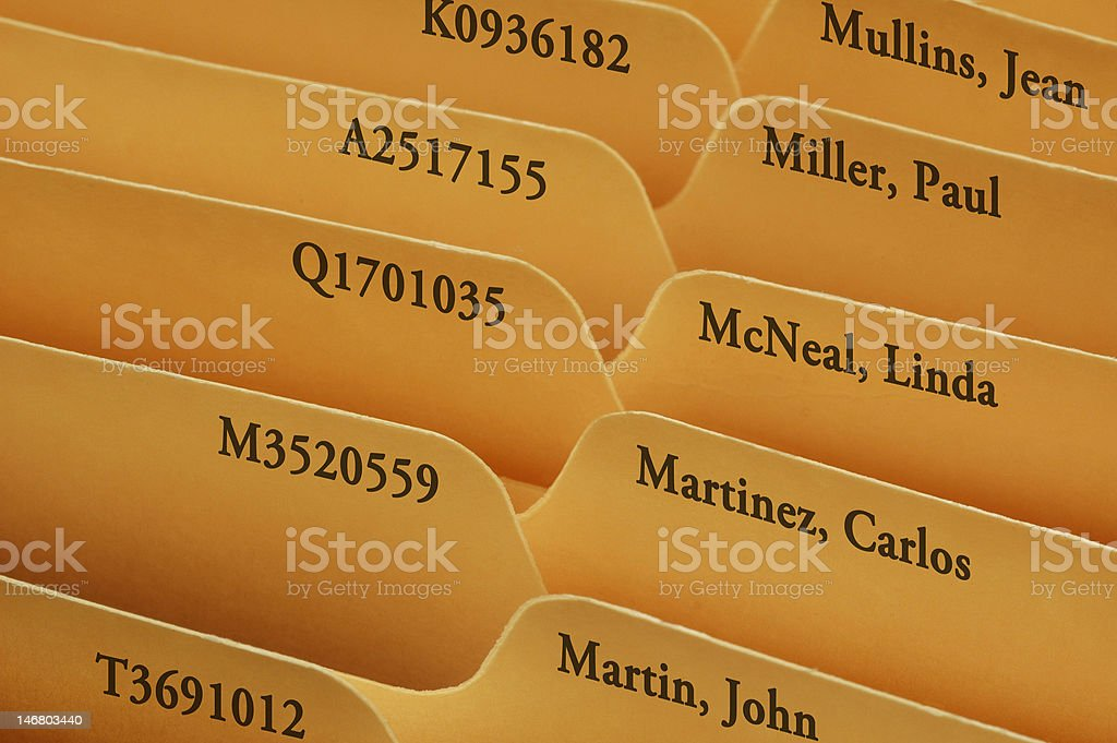 Manila file folder tabs stock photo