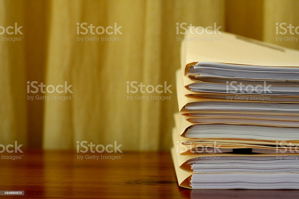 Manila File Folders Stacked stock photo