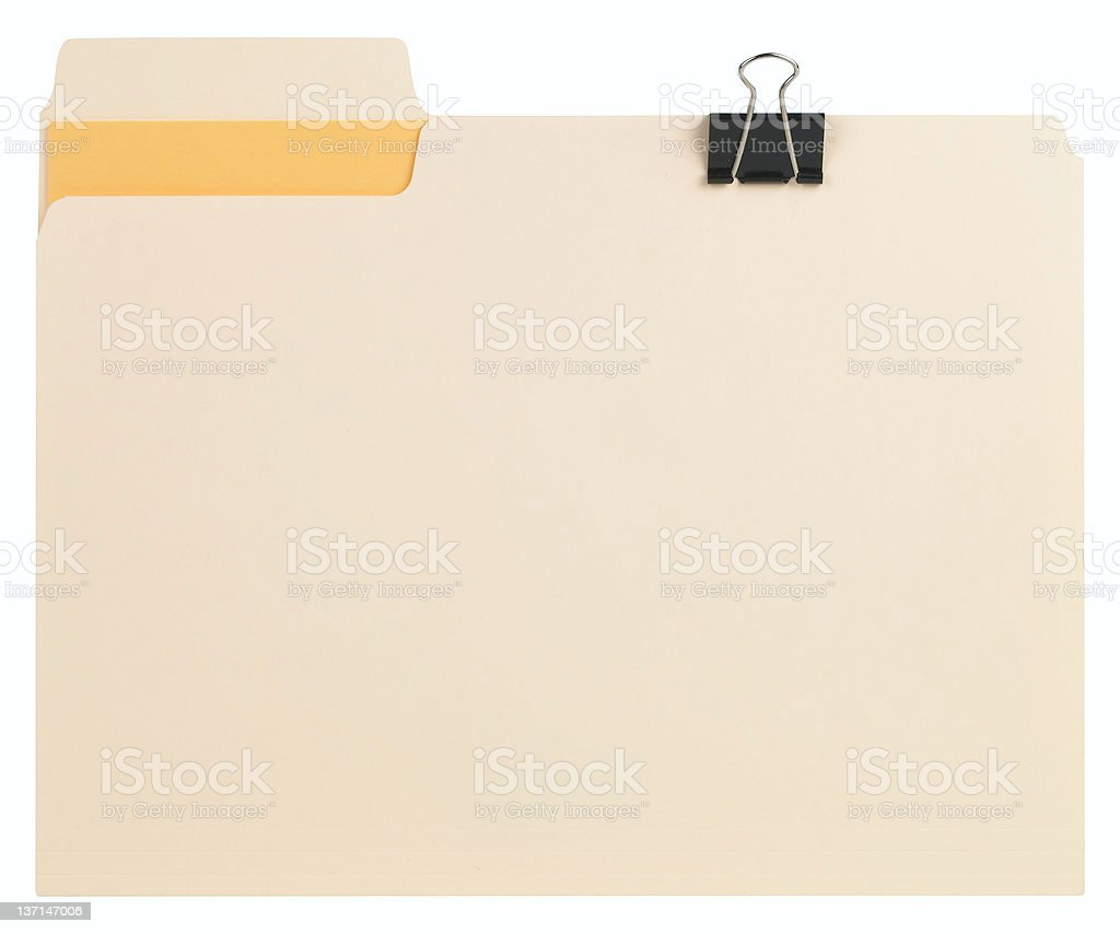 Manila file with folder clip and orange insert  royalty-free stock photo