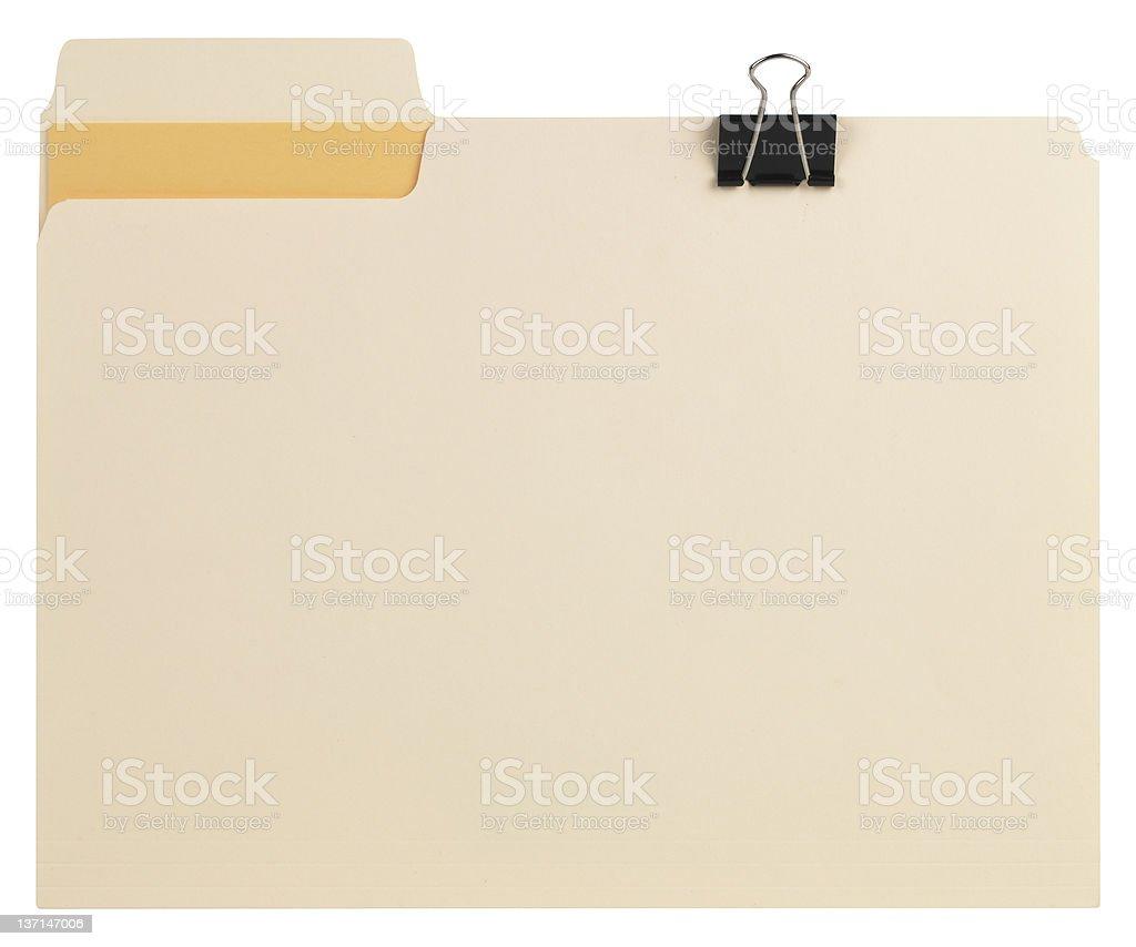 Manila file with folder clip and orange insert  stock photo