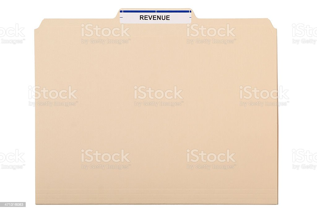 Manila folder labelled 'REVENUE' on white background royalty-free stock photo