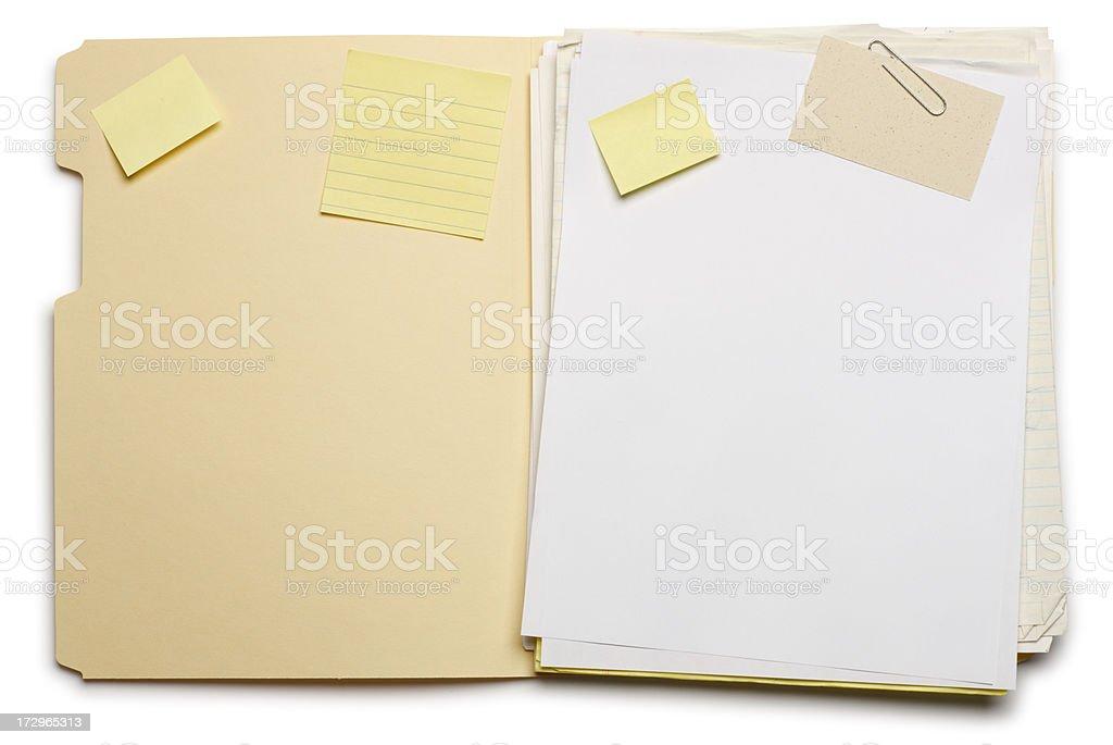 Manila folder open on white background. stock photo