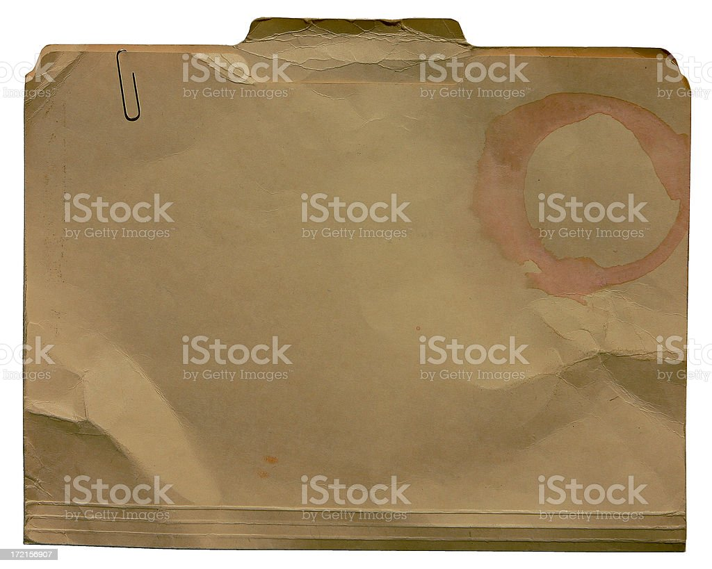 Manila Folder with Coffee Stain and Paper Clip royalty-free stock photo