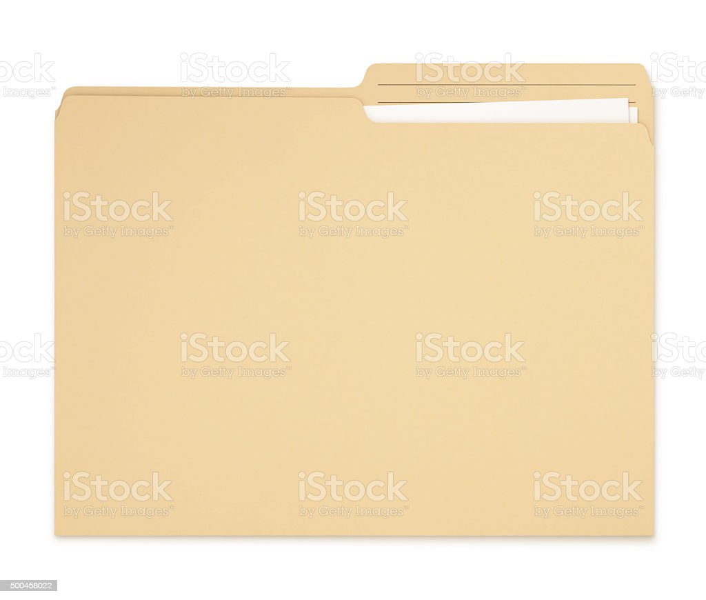 Manila Folder with papers (with path) stock photo
