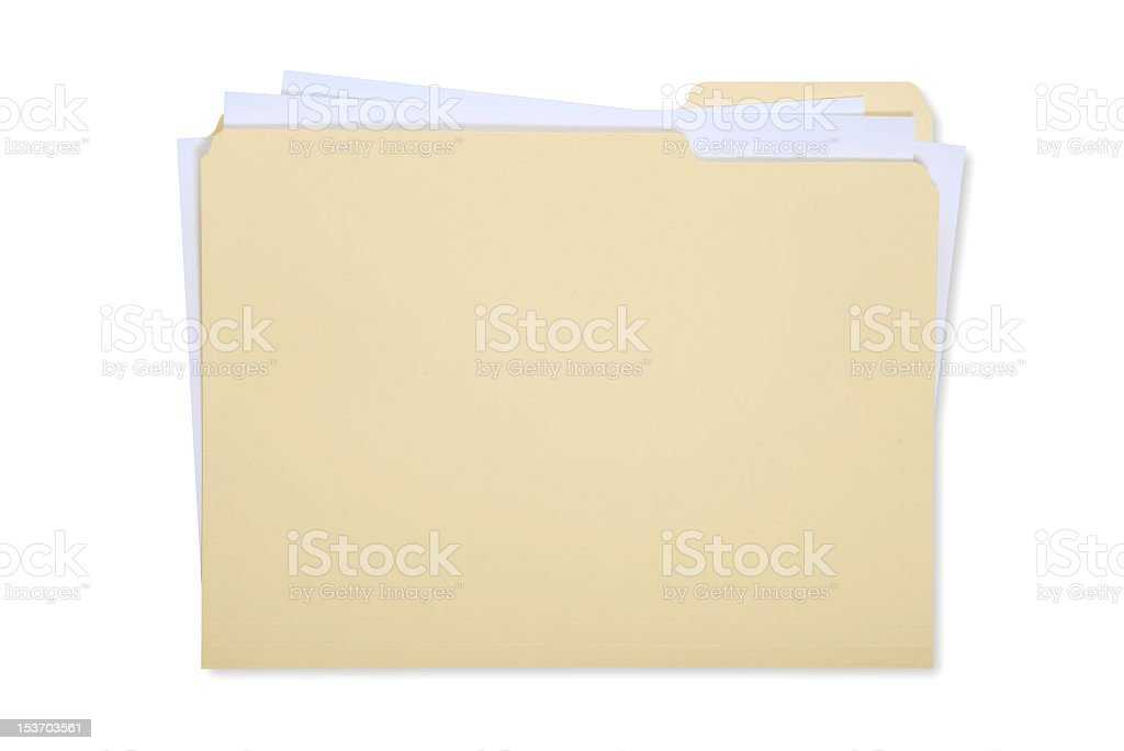 Manila folder with white papers inside stock photo