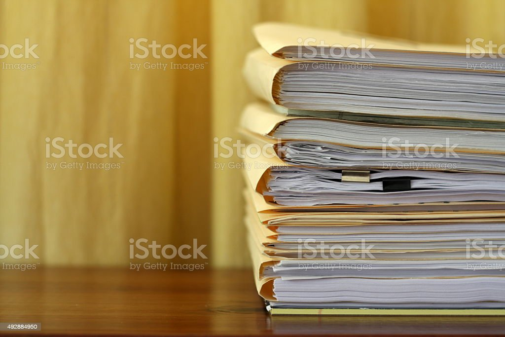 Manila Legal File Folders in a Stack stock photo