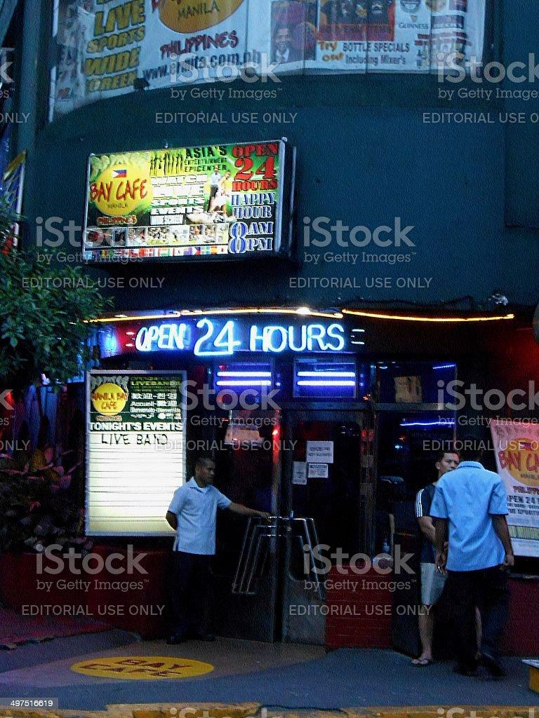 Manila nightclub entrance door, LA Cafe Philippines stock photo