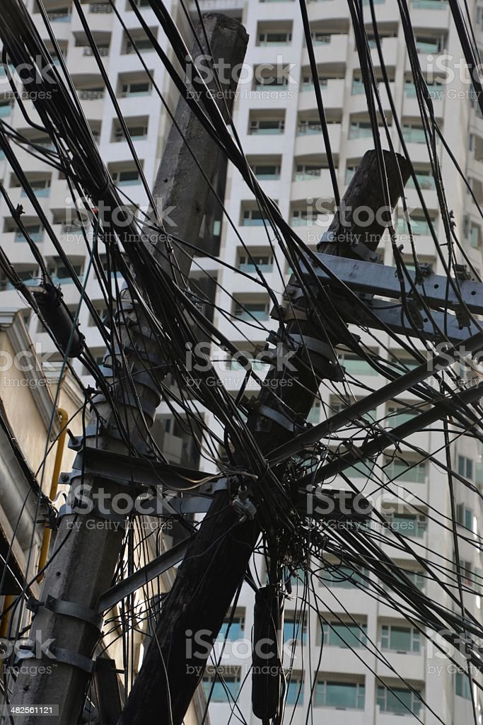 Manila, Philippines. Overhead electric cables stock photo