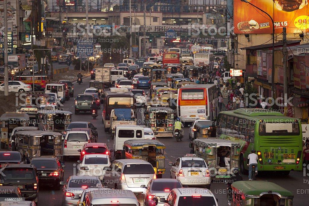 Manila, Philippines: Rush hour traffic in the EDSA area stock photo