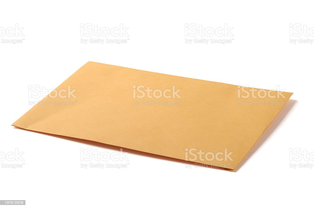 Manila Postage Mail Envelope Isolated on White Background stock photo