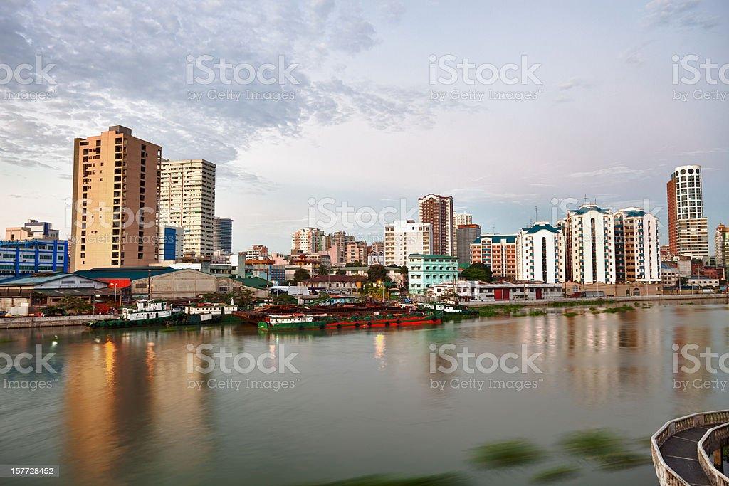 Manila skyline at dusk stock photo