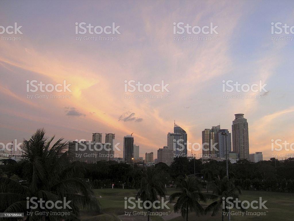 manila skyline at sunset, Philippines stock photo
