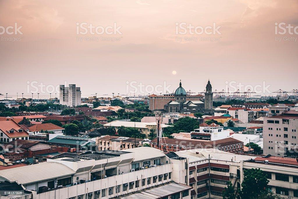 Manila skyline at sunset stock photo