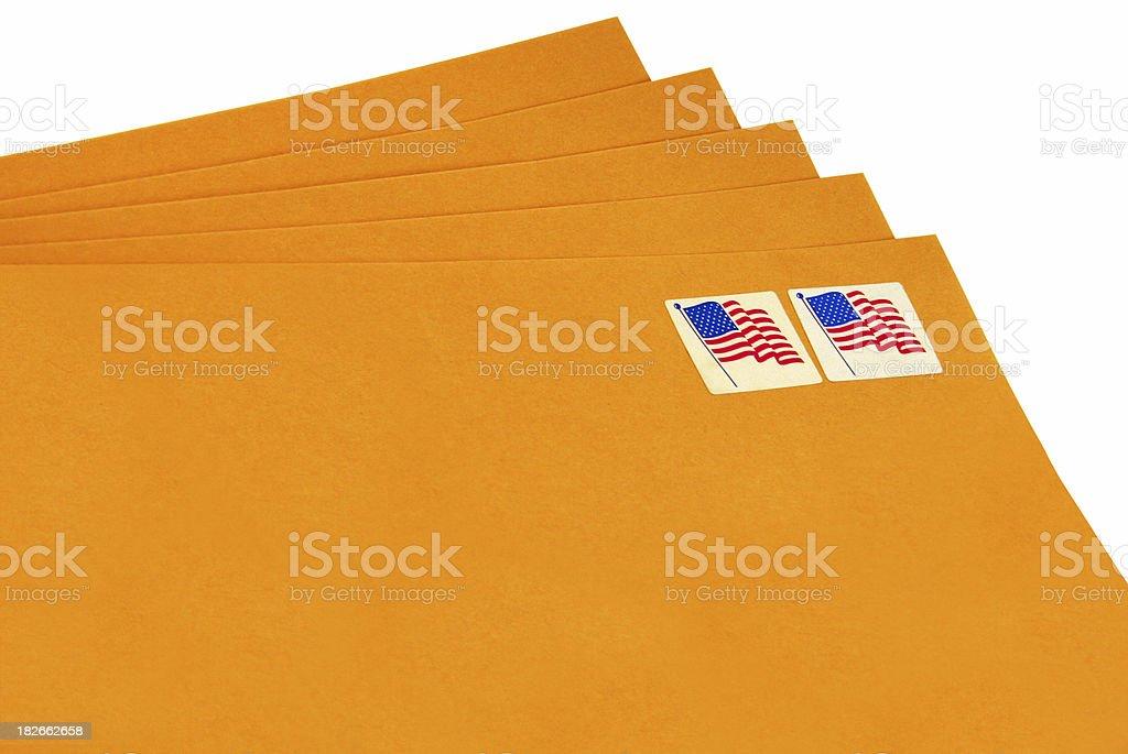 Manilla envelopes ready to address royalty-free stock photo