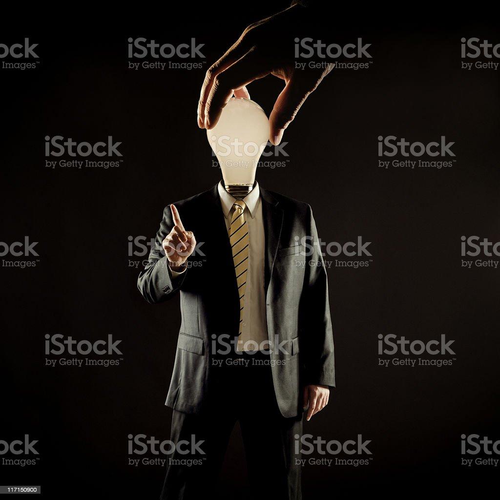 Manipulated business man stock photo