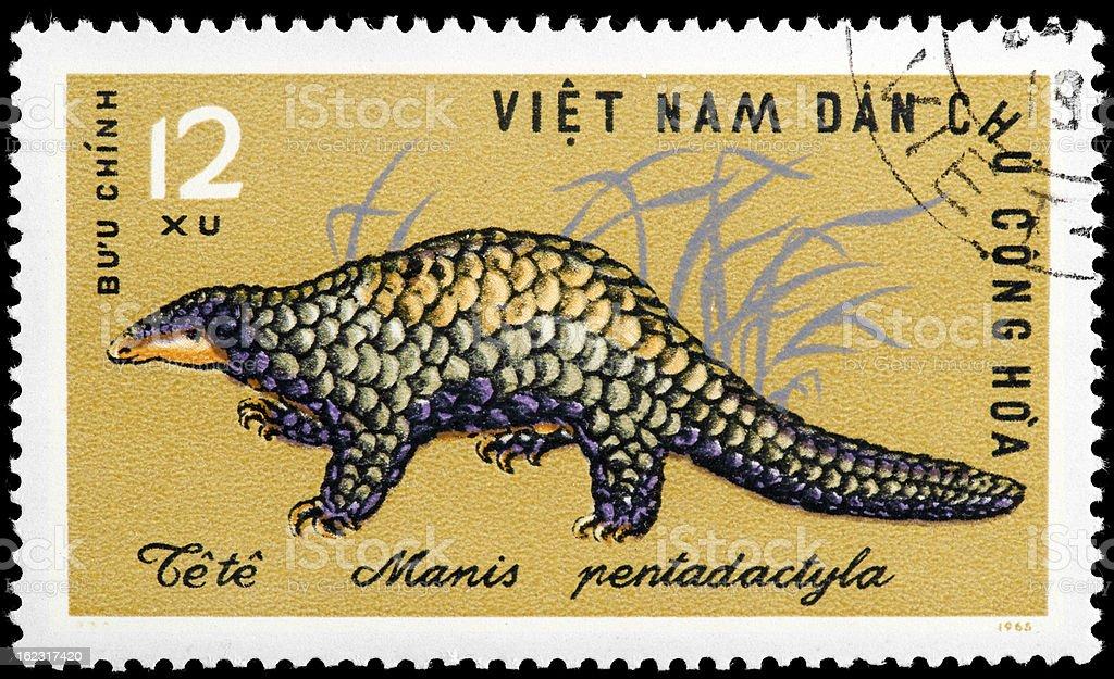 Manis Pentadactyla Dinosaurus Postage Stamp stock photo