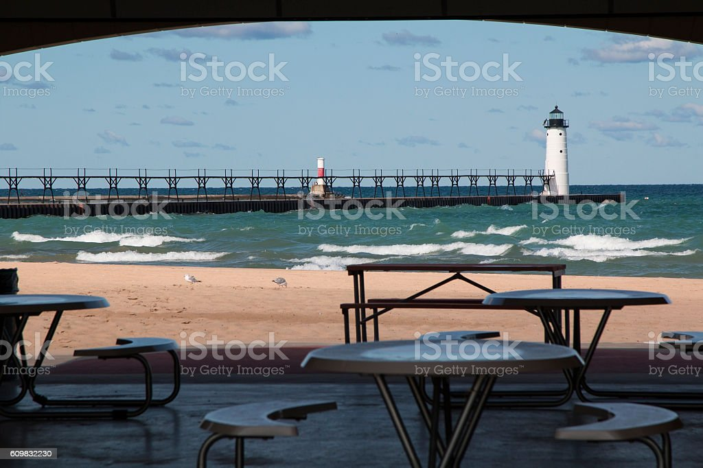 Manistee North Pier Head stock photo
