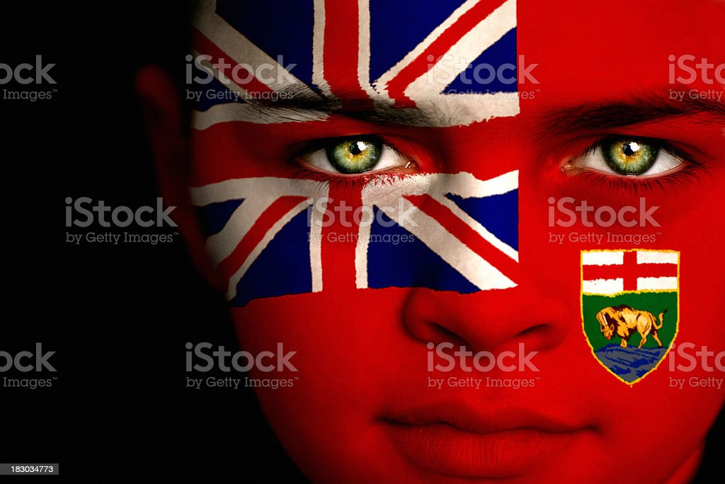 Manitoba Canadian Flag Boy royalty-free stock photo