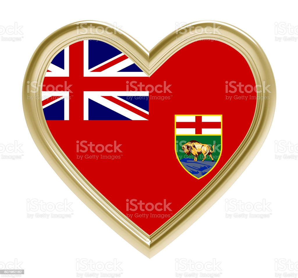 Manitoba flag in golden heart isolated on white background. stock photo