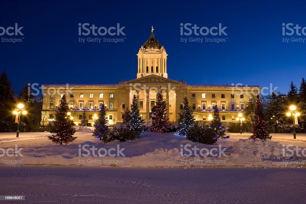 Manitoba Legislator Building Christmas lights royalty-free stock photo