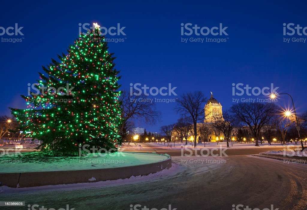 Manitoba Legislator Building Christmas lights royalty-free stock photo