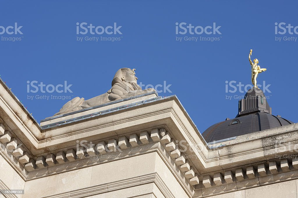 Manitoba Legislator Building Spinx Golden Boy royalty-free stock photo