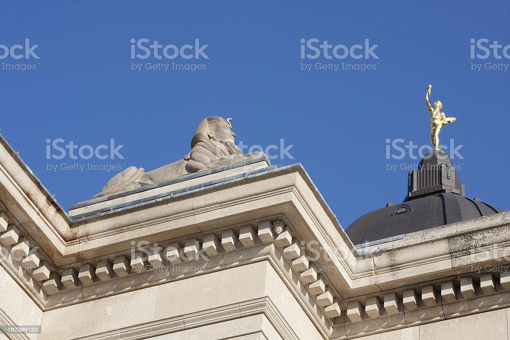 Manitoba Legislator Building Spinx Golden Boy stock photo