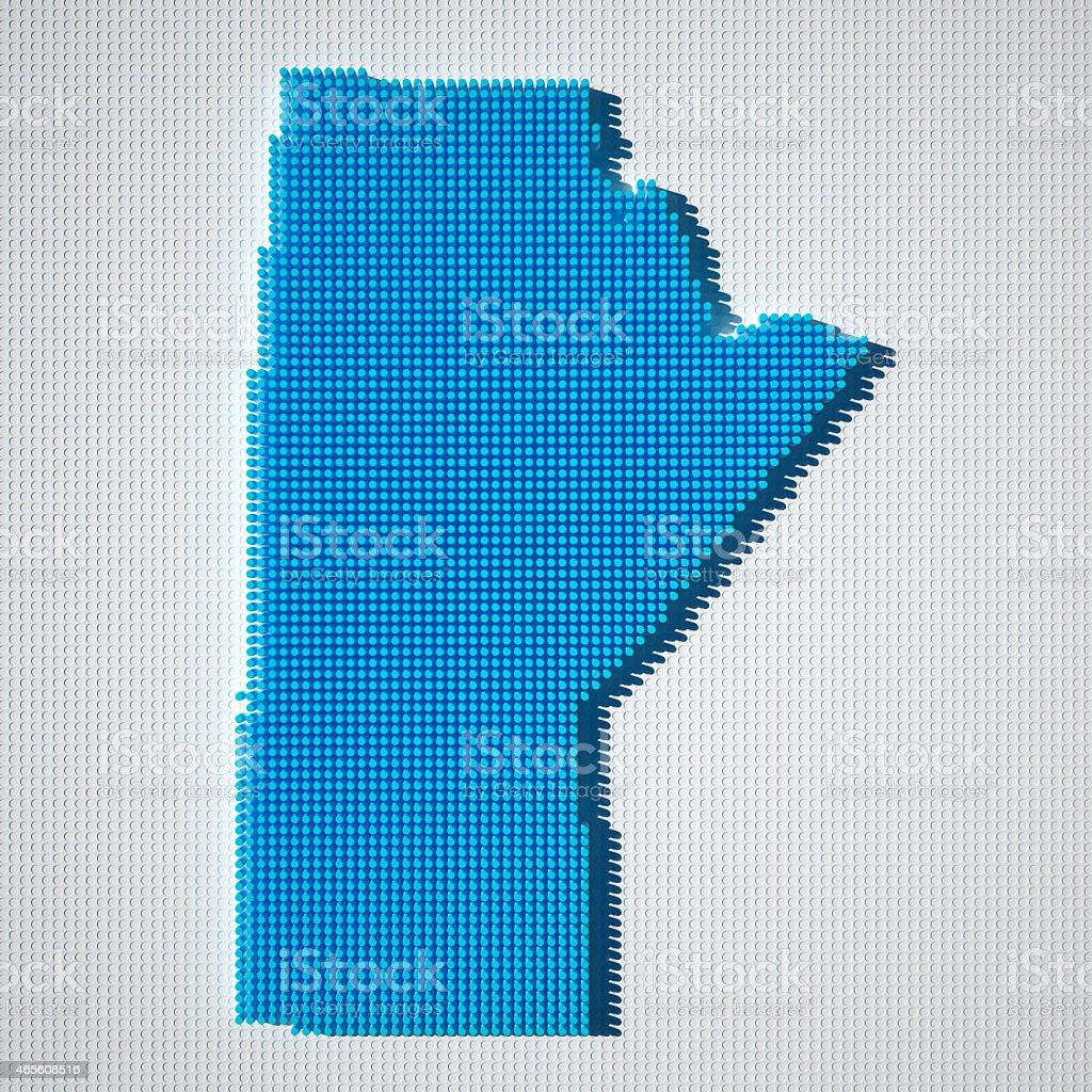 Manitoba Map Blue Dot Pattern 3D stock photo
