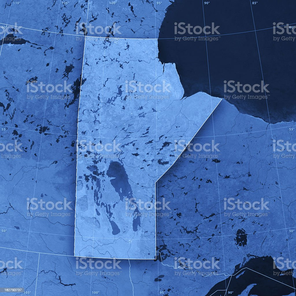 Manitoba Topographic Map royalty-free stock photo