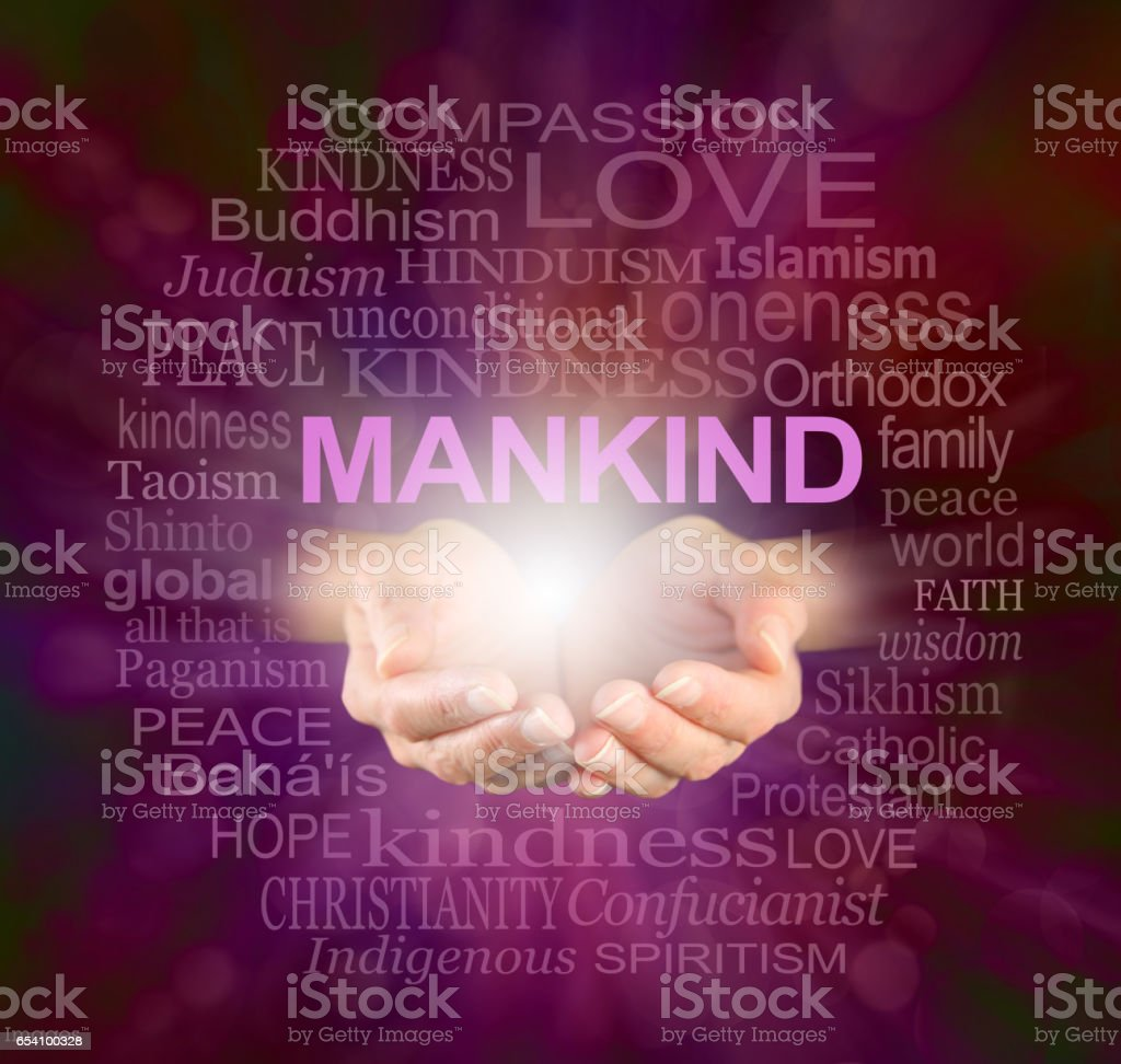 Mankind World Religions Word cloud stock photo