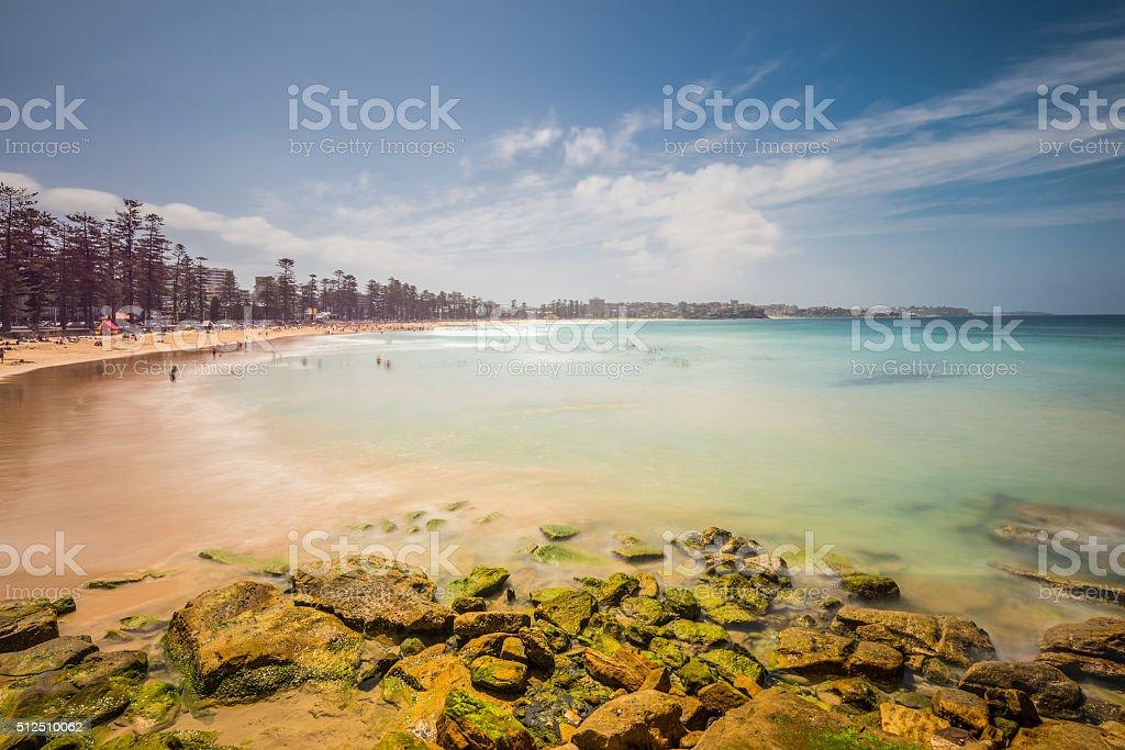 Manly beach on sunny day, Australia - long exposure stock photo