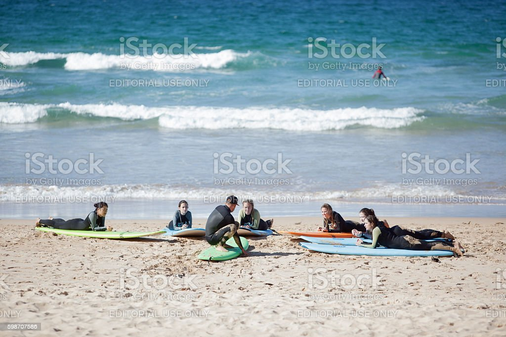 Manly Beach surfer class and beach-goers stock photo