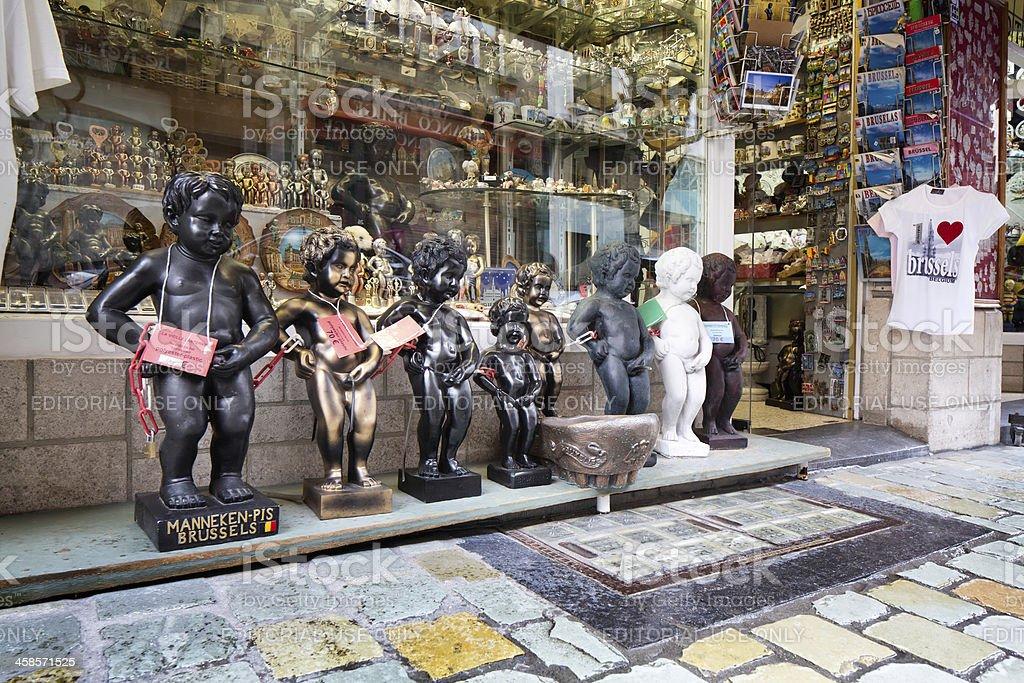 Manneken Pis Replicas at Brussels Souvenir Shop stock photo