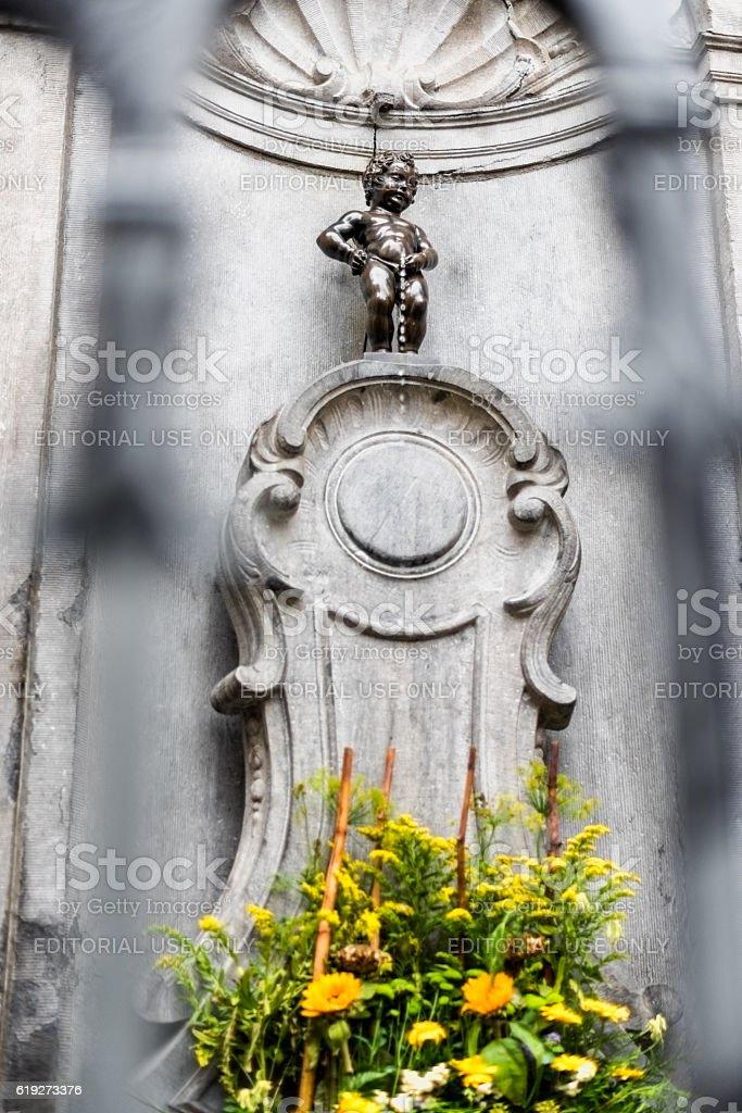 Manneken Pis statue in Brussels Belgium stock photo