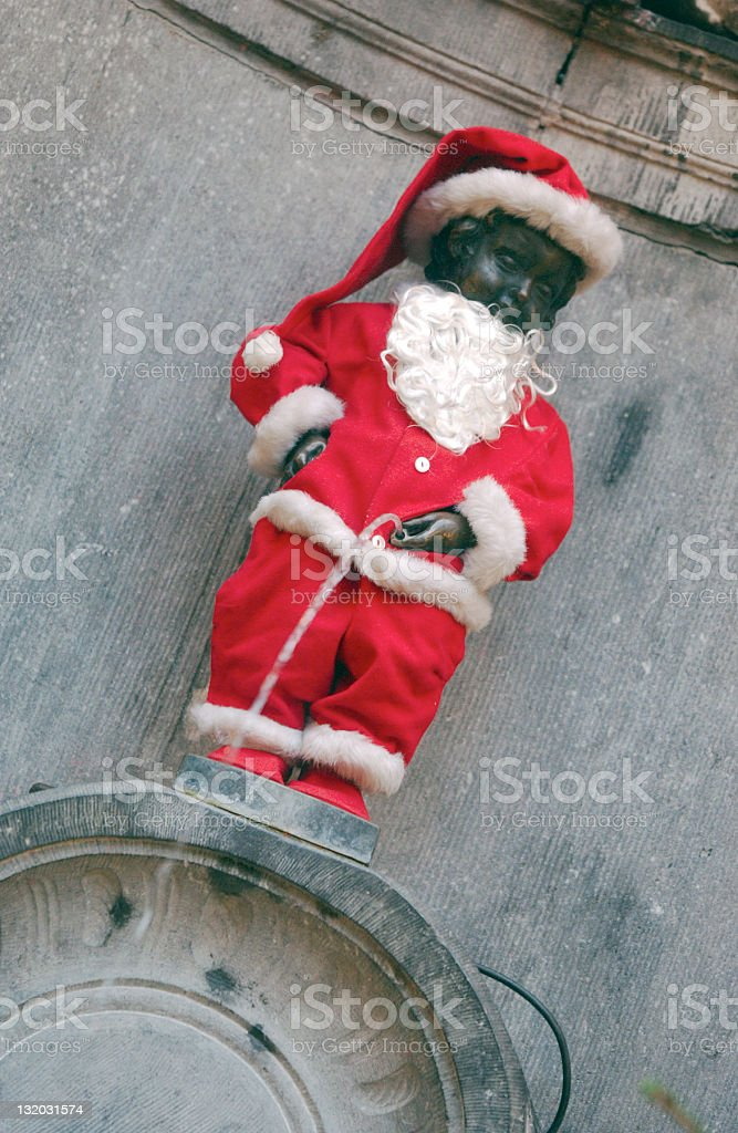 Mannekin Pis as Santa royalty-free stock photo