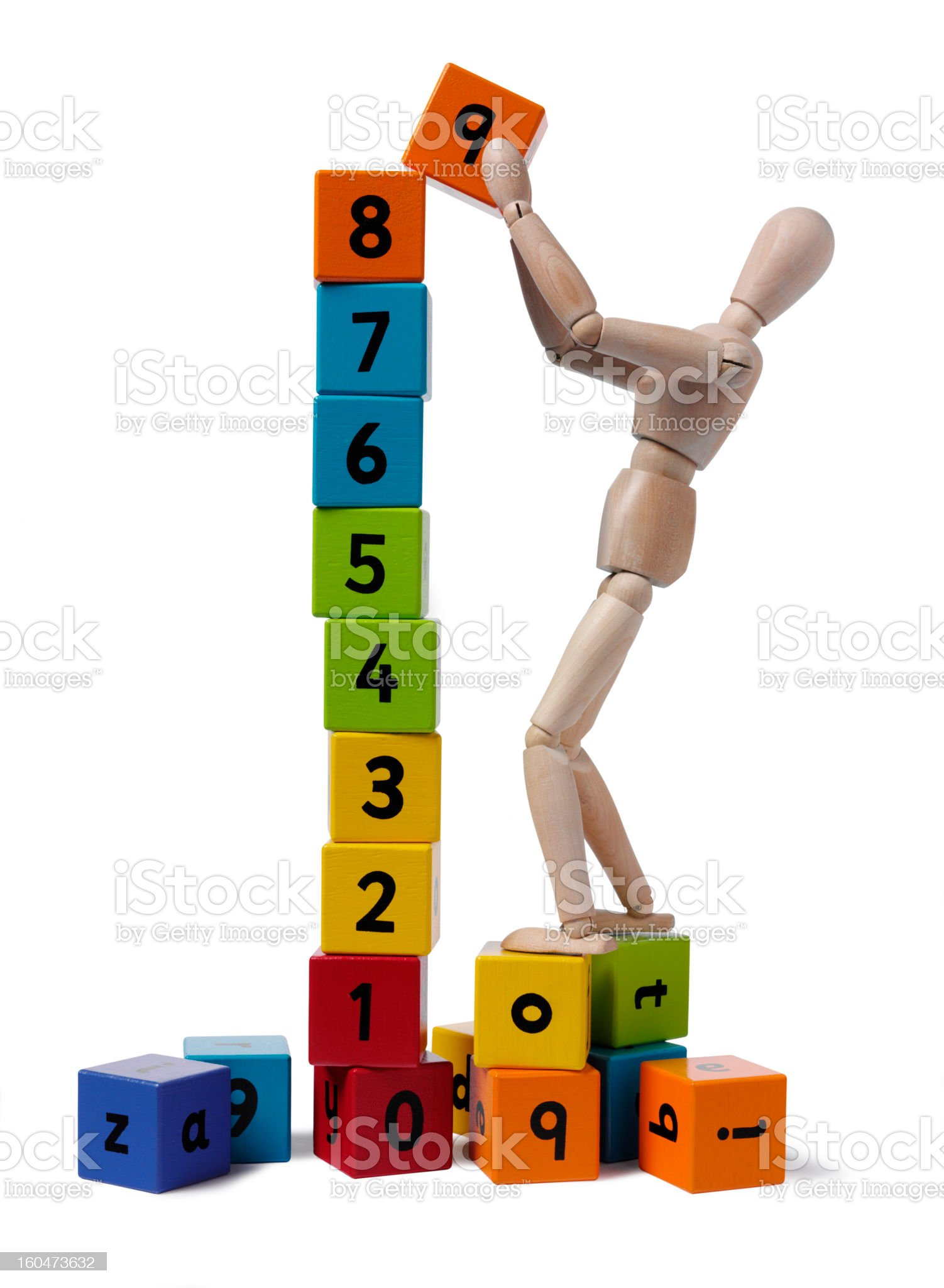 Mannequin and Numbered Blocks royalty-free stock photo