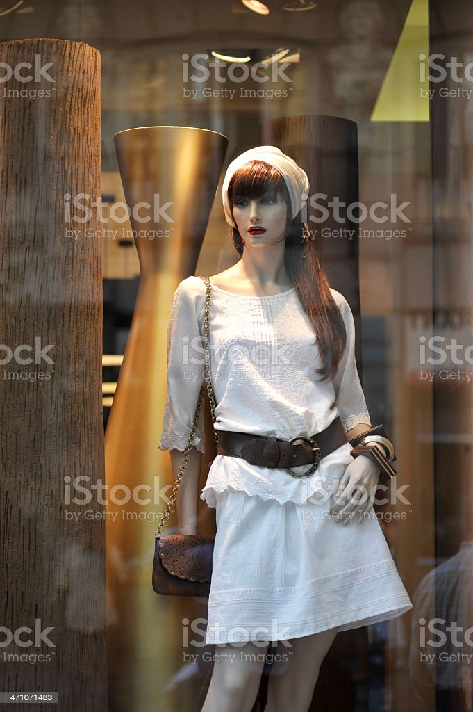 Mannequin and window shopping royalty-free stock photo