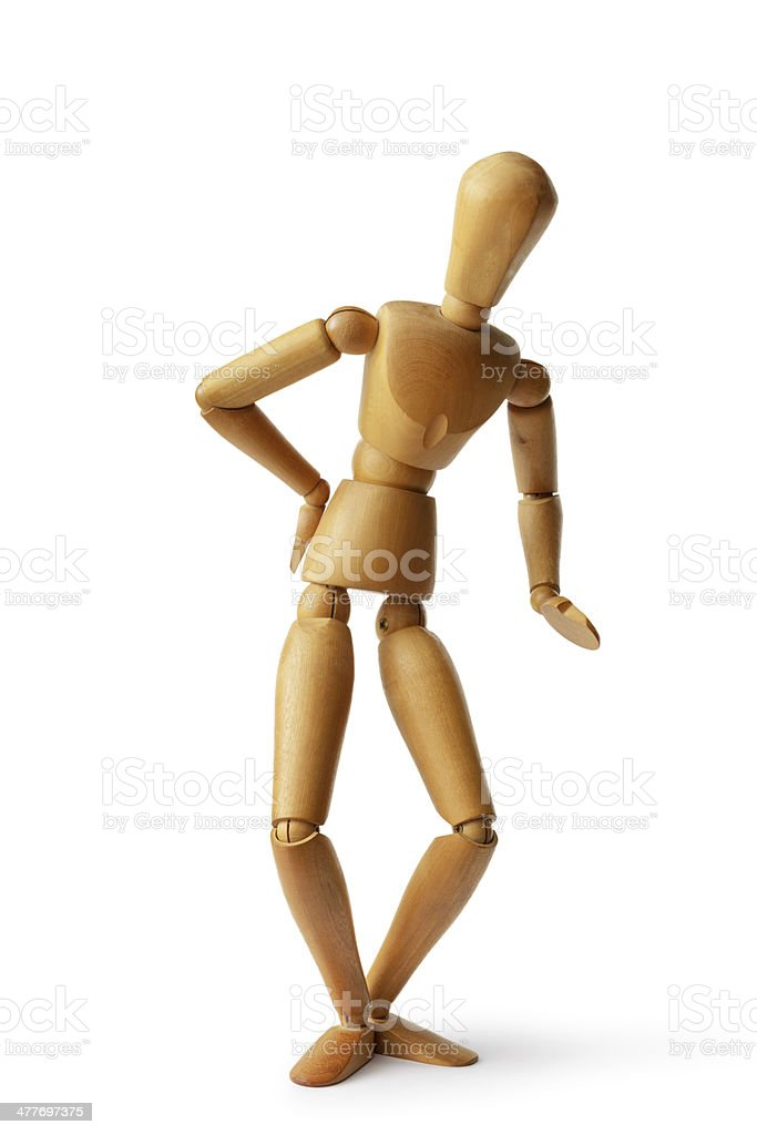 Mannequin: Back ache royalty-free stock photo