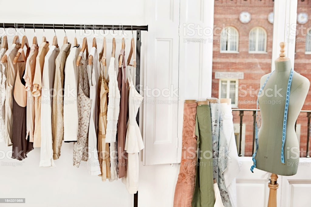 Mannequin in fashion designer's studio stock photo