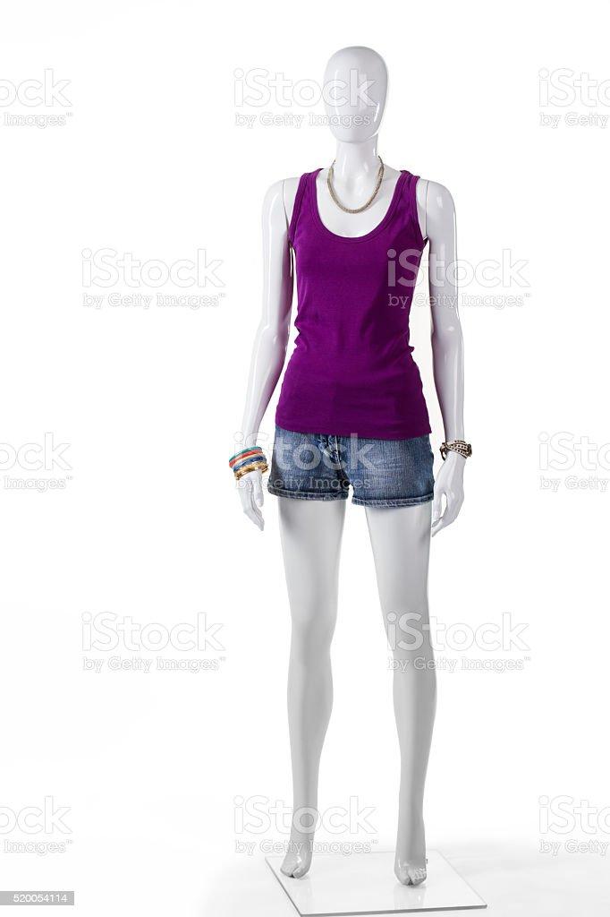 Mannequin in purple tank top. stock photo