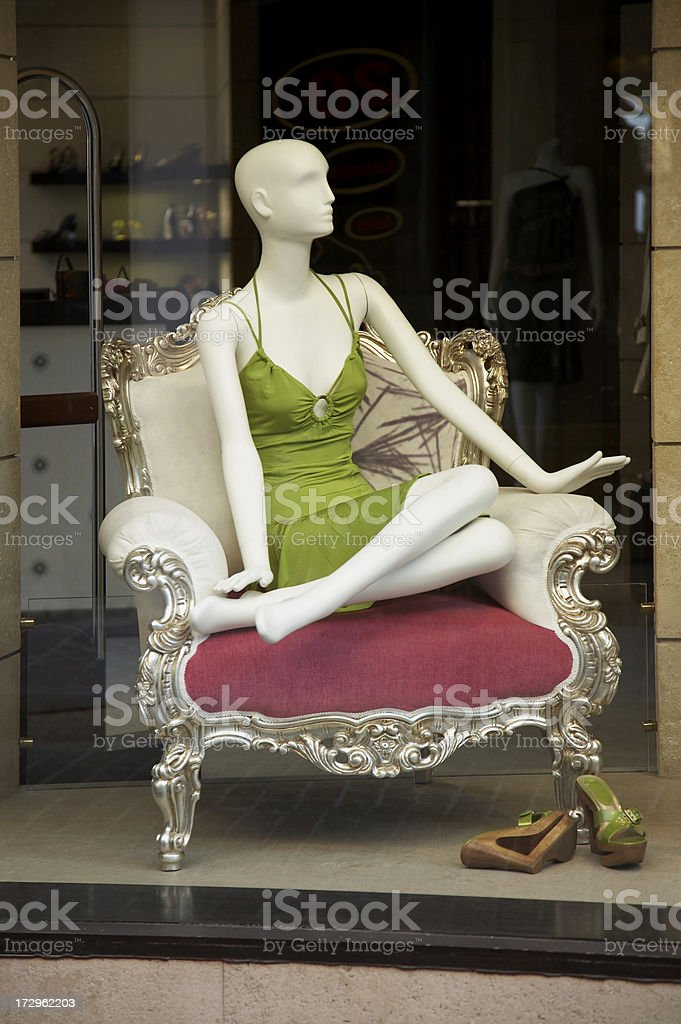 Mannequin in shop window royalty-free stock photo