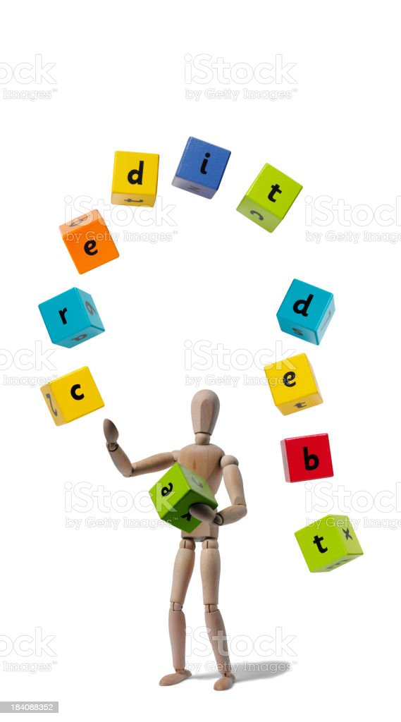 Mannequin Juggling Credit and Debt royalty-free stock photo
