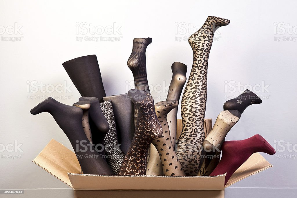 Mannequin legs and stockings stock photo