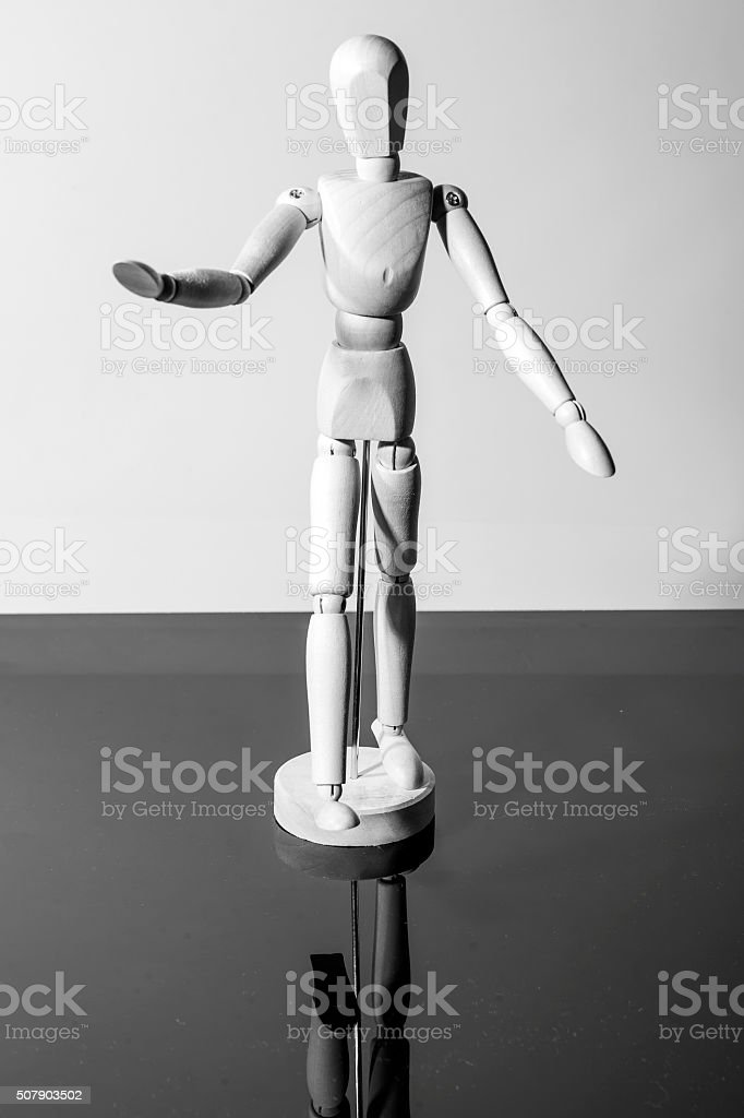 mannequin old wooden dummy feeling isolated stock photo