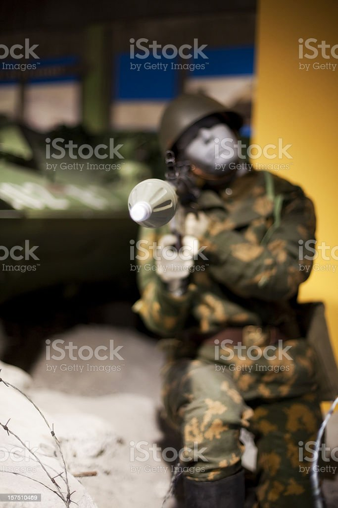 Mannequin Soldier Holding a Rocket Propelled Grenade stock photo