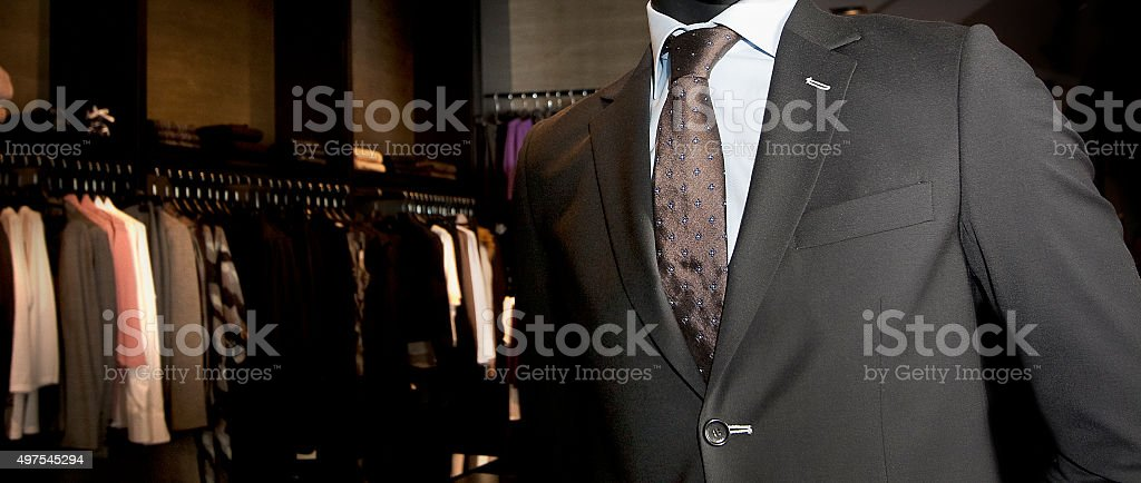 Mannequin with suit, shirt and necktie . stock photo
